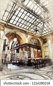 Sketch of nineteenth  century gallery Vivienne in Paris