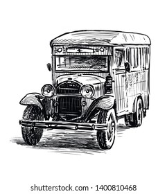 Sketch of the old bus of times of World War II