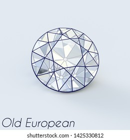 Sketch of an old european cut diamond with a title on white background. 3D illustration