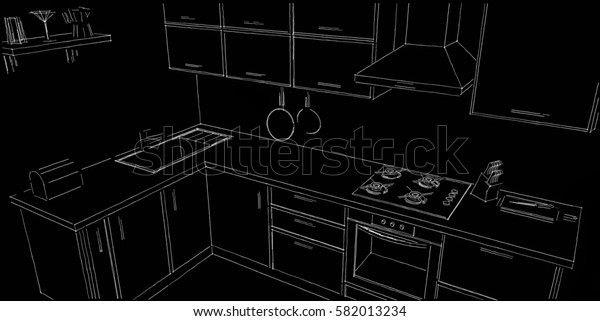 Sketch outline drawing of 3d modern corner kitchen interior black and white