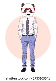 Sketch panda in a shirt and trousers and tie. Businessman style, full length. Hand drawn illustration
