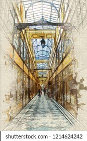 Sketch of Passage du Grand Cerf in Paris