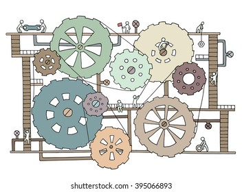 Sketch of people teamwork, gears, production. Doodle cartoon mechanism with machinery and cogwheels. Hand drawn illustration for business design isolated on white.