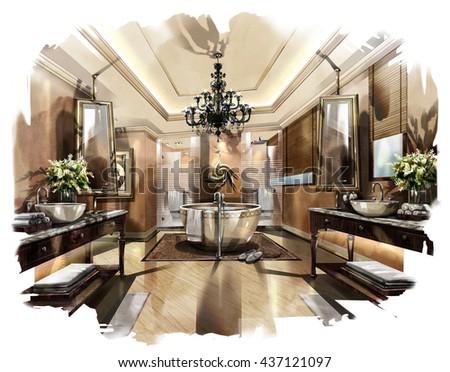 Sketch Perspective Interior Design Sketch Painting Stock Extraordinary Interior Designe Painting
