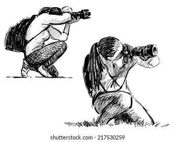 sketch of a photographers
