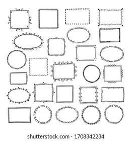 Sketch picture frames. Doodle square borders sketch lines hand drawn photo empty frame vintage cartoon set