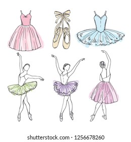 Sketch pictures of different ballet dancers. Hand drawn illustrations of ballerinas