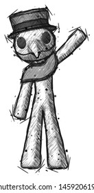 Sketch Plague Doctor man waving emphatically with left arm
