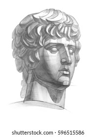 A sketch of the plaster head of Antinous in a pencil. Academic drawing.
