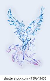 Sketch of a purple phoenix bird on a white background.