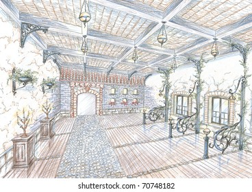 Sketch of restaurant hall in style of city street