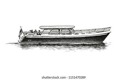 Sketch of a river pleasure boat