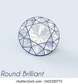 Sketch of a round briliant cut diamond with a title on white background. 3D illustration