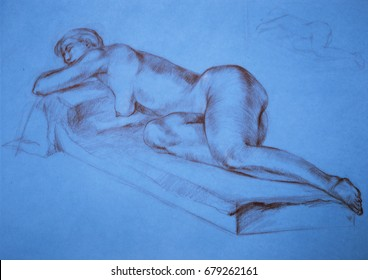 Sketch of a sanguine with naked nature