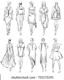 SKETCH. Set of Fashion model on a white background.