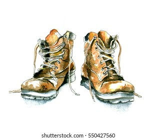 Sketch of shoes / Hand-drawn Watercolor and ink illustration  isolated on white background