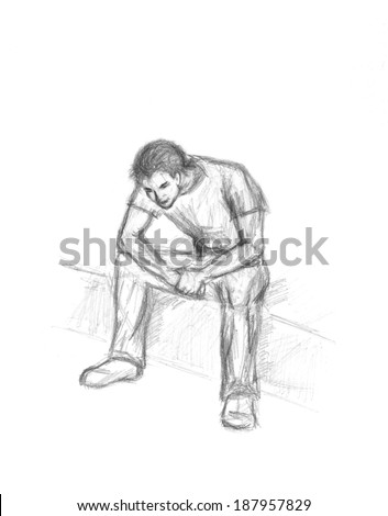 sketch sitting thoughtful man pencil on stock illustration 187957829