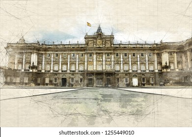 Sketch of the Spanish Royal Palace in Madrid