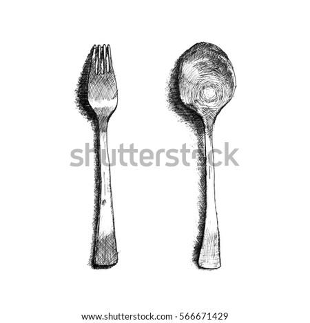 Royalty Free Stock Illustration Of Sketch Spoon Fork Black White On