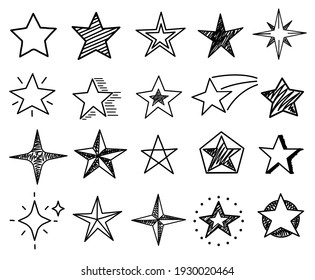 Sketch stars. Cute star shapes, black starburst doodle signs for christmas decoration isolated set