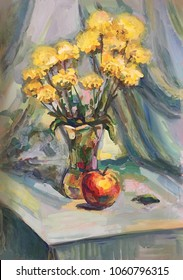 Sketch of the still life in gouache and watercolor.