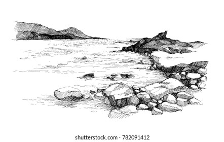 Sketch of stone beach