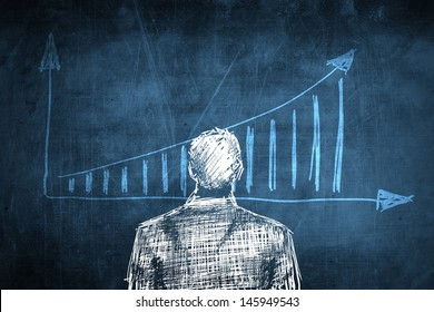 Sketch successful businessman concept with rising chart