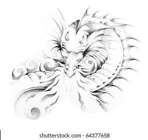 Sketch of tattoo art, medieval dragon