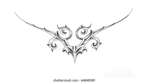 Sketch of tattoo art, tribal design