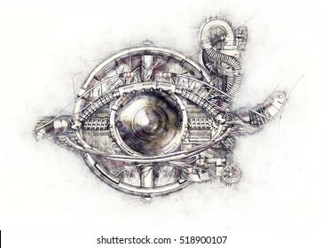 Sketch of a technical-mechanical eye, 3D Illustration