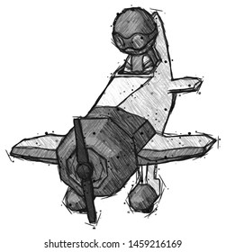 Sketch Thief Man in Geebee stunt plane descending front angle view