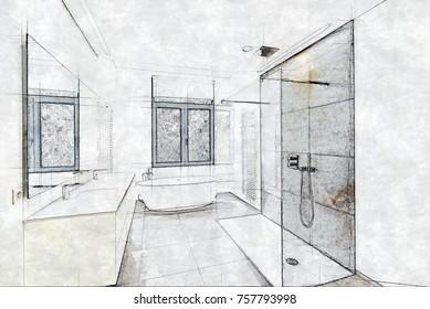 Sketch of a Tiled bathroom with windows towards garden