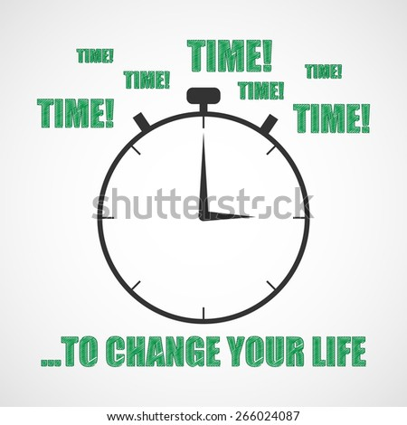 Sketch Time Change Your Life Motivation Stock Illustration Royalty