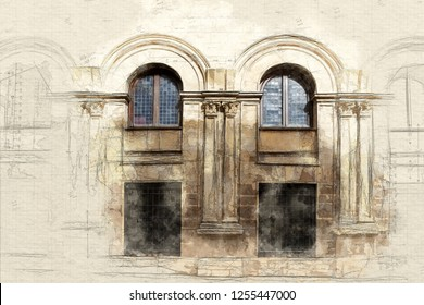 sketch of a traditional architecture detail