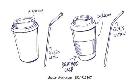 Sketch of two coffee cups: ordinary plastic and eco-friendly of bamboo material with silicon lid with two straws: plastic and glass. Freehand drawing.