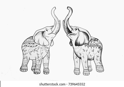 Sketch of two elephants in patterns on a white background.