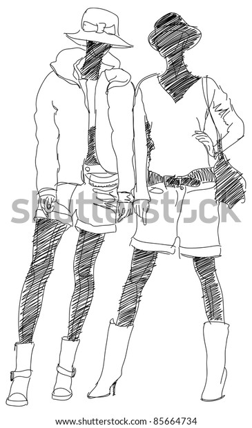 Sketch of two fashion girls. Bitmap copy my vector ID 69185380