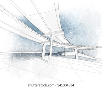 Sketch of the two-level highway depicted in floral style.