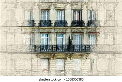 Sketch  of the Façade of a typical Parisian building