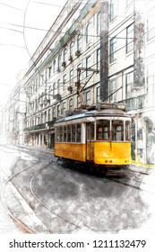 Sketch of Vintage yellow tramway in the streets of Lisbon