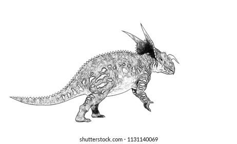 sketch of the walking einiosaurus