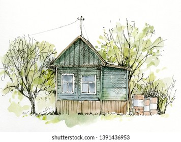 Sketch watercolor village russian country house. Grafic Countryside colored house.