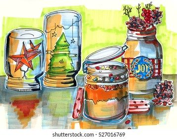 sketch of winter decorative jars
