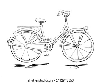 Sketch of woman  bicycle with ground. Pencil drawing, black and white.