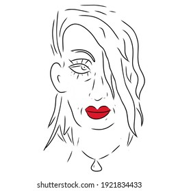 Sketch of a woman's face with red lips on a white background.
