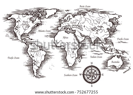 sketch world map template in black and white colors with titles of continents and oceans illustration