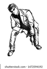 A sketch of a young attractive full-length man who sits and points his finger somewhere down. Black ink hand-drawn illustration. Can be used for fashion illustration, collage, banner, postcard, flyer