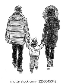 Sketch of a young family going for a walk