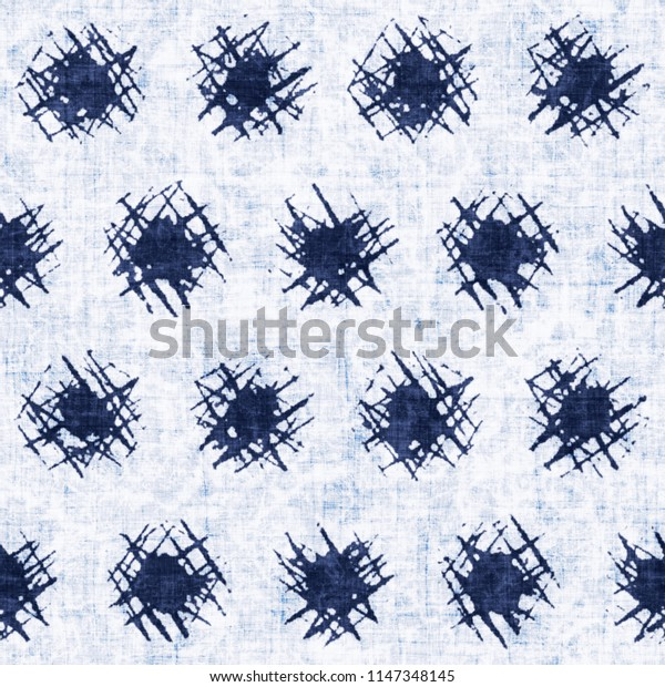 Sketched Dots Dyed In Mottled Shades Of Indigo And White. Seamless Pattern.