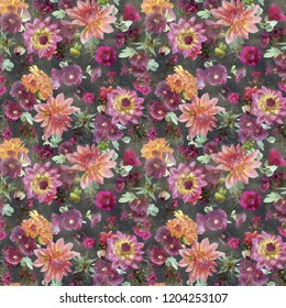 sketched flower print in bright colors - seamless background